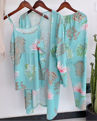 Hawaii Flower Print Strap Tanks With Pants And Sleepwear Suit Sets