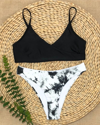 Solid Skinny Sleeveless Tanks With Floral Panties Bikini Sets