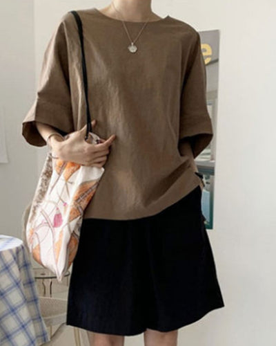 Solid Long Sleeve Bat Wing Sleeve Blouse
