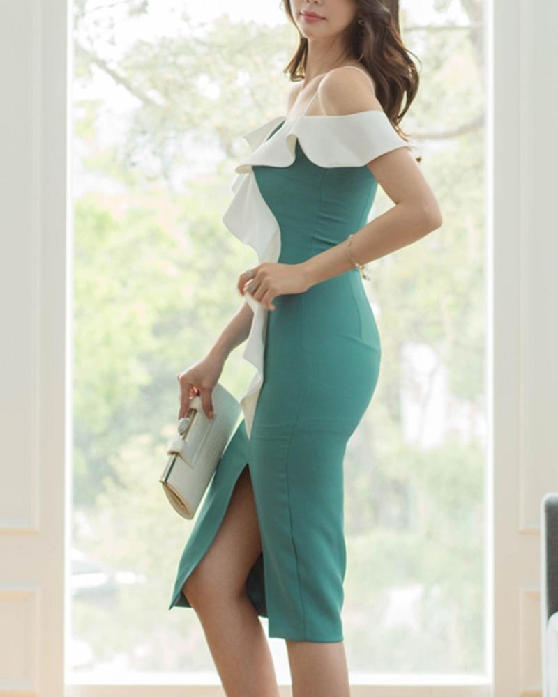 Contrast Cold Shoulder Split Midi Dress