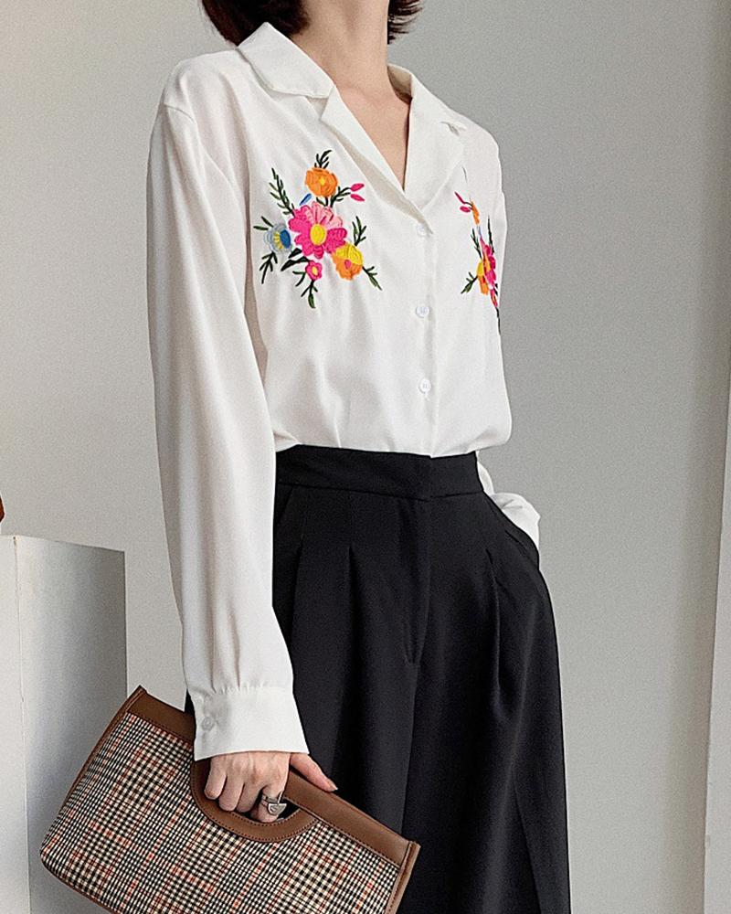 Floral Embroidery Button-Down Blouse