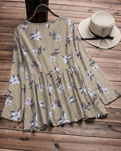 Floral Print Tiered Swing Top