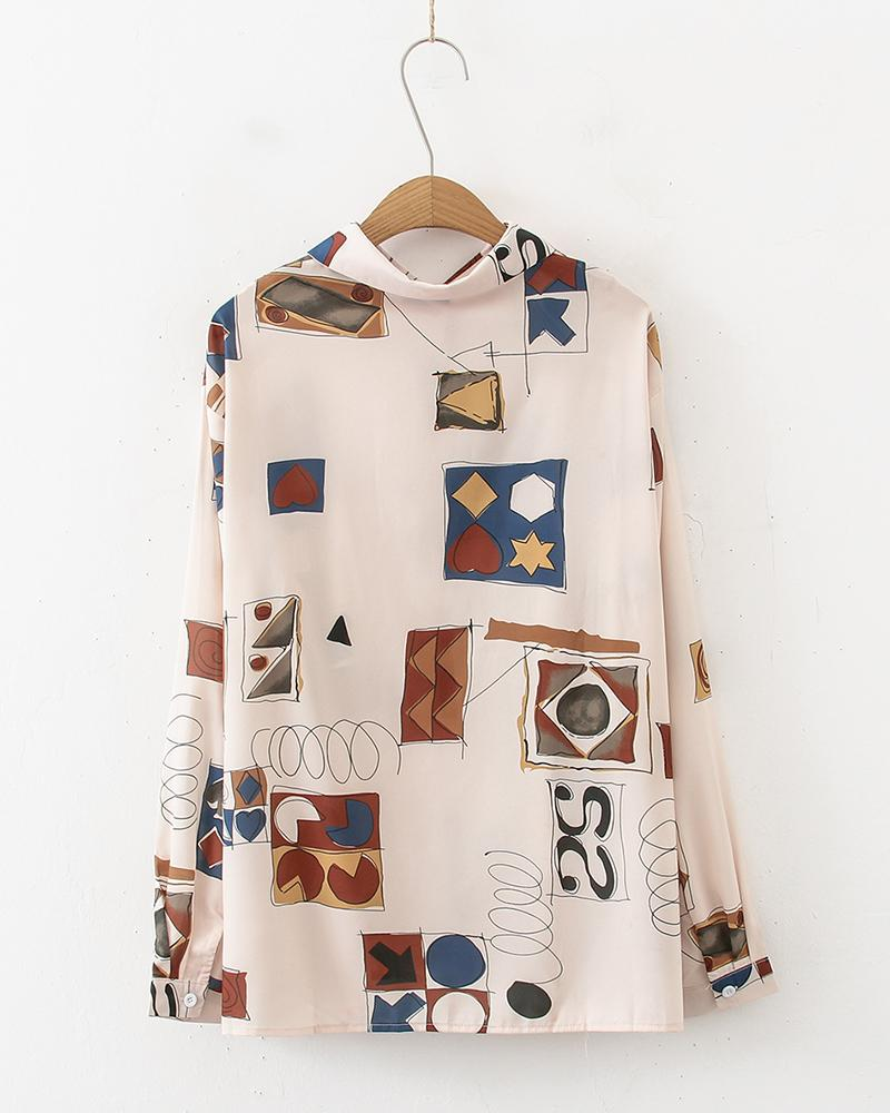 Cartoon Print Long Sleeve Loose Blouse