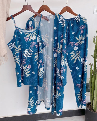 Floral Print Strap Tank With Pants And Cover Up 3PCS Suit Sets