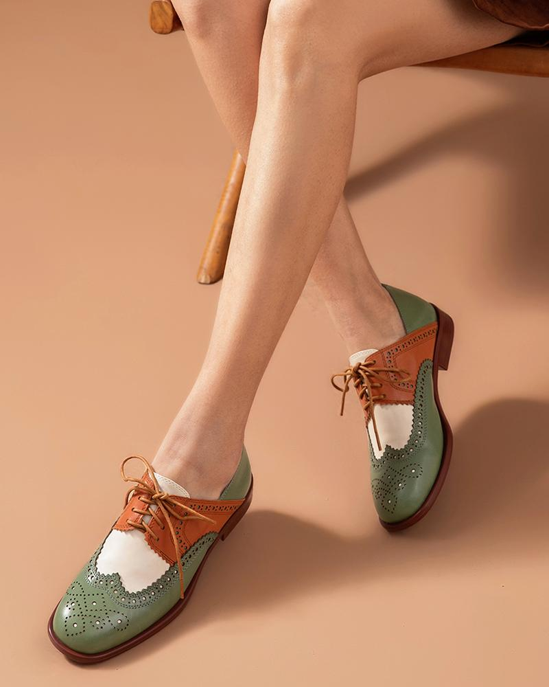 Contrast Color Perforated Oxfords