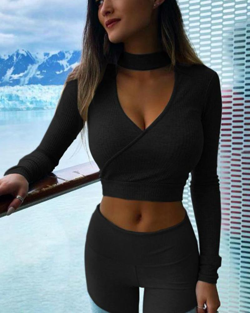 Keyhole Cut Out Crop Top