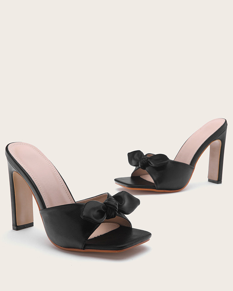Solid Bowknot Patchwork Sqaure-toe High Heel Sandals