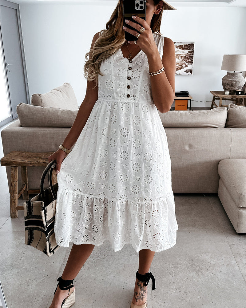 Solid Sleeveless Loose Button-up Midi Dress