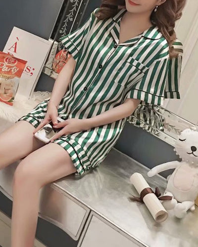 Stripped Short Sleeve Loose Button-up Blouse With Shorts Pajamas Sets