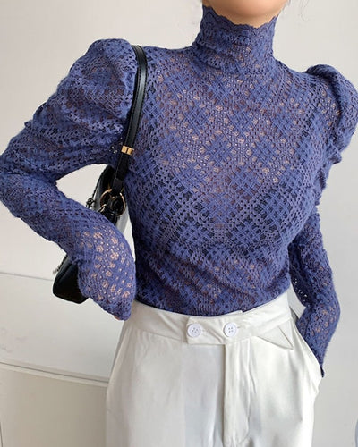 Solid Lace Puff Sleeve Blouse