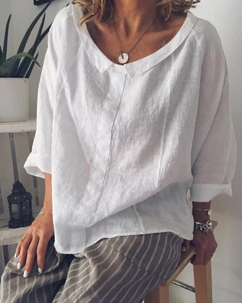 Linen Plain Casual Top