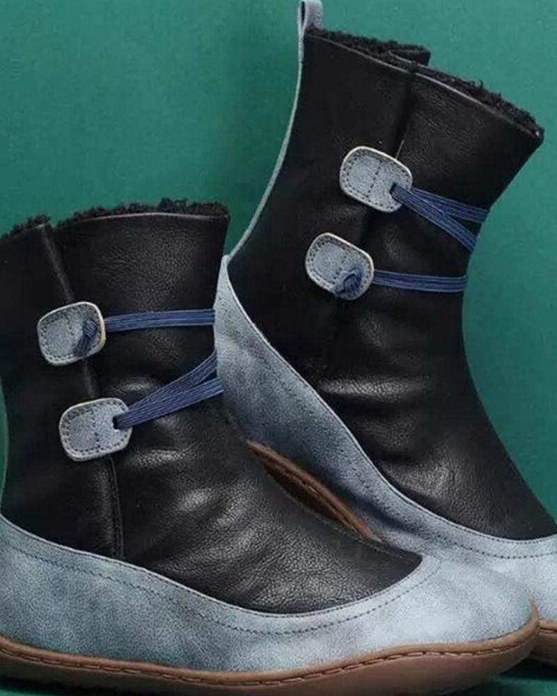 Coloblock Round-toe Double Buckle Flat Snow Boots