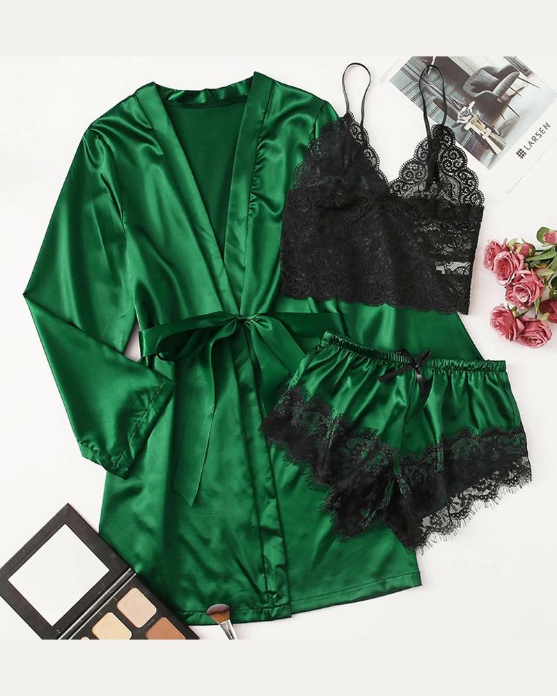 Satin Lace Three-piece Pajamas Sets