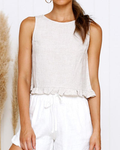 Solid Ruffles Hem Sleeveless Tanks