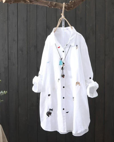 Embroidered Long Sleeve Shirt Tunic