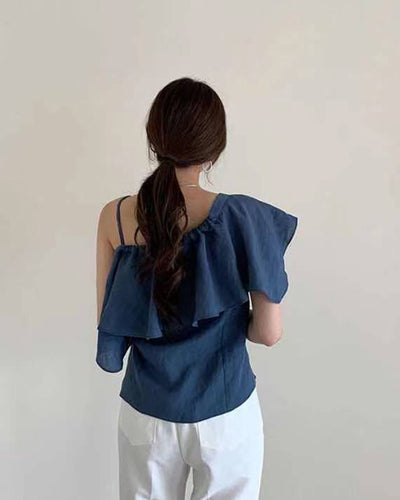 Solid Ruffles Strap Loose Tanks T-shirts