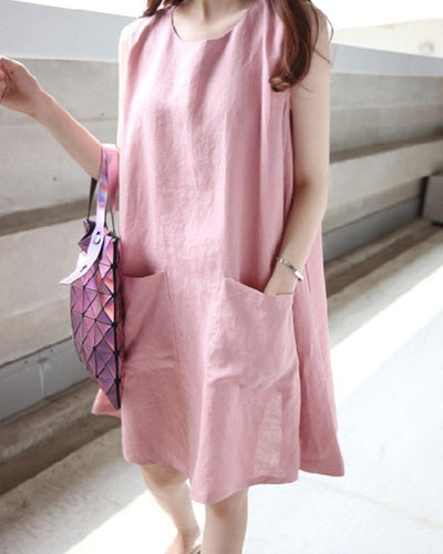 Linen Pocketed Tank Dress