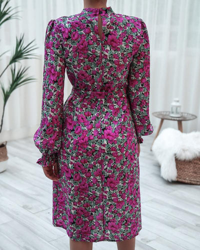 Floral Lantern Long Sleeve Dress