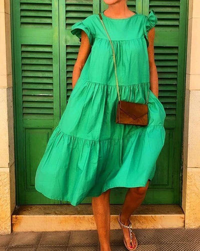 Solid Tiered Midi Swing Dress