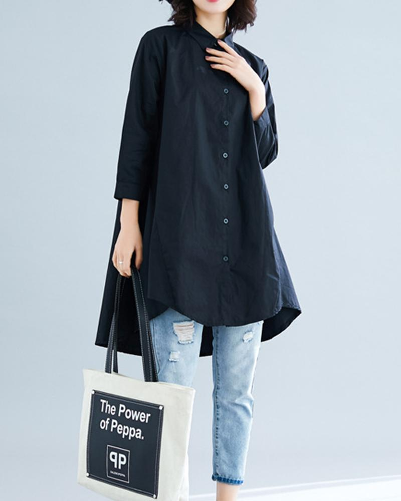 Solid Three Quarter Sleeve Blouse