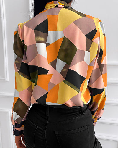 Color Block Long Sleeve Chiffon Shirt