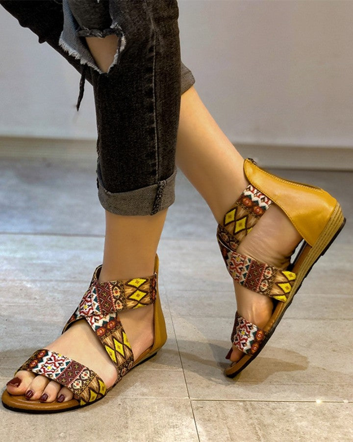 Retro Patterns Band Patchwork Open-toe Flat Sandals