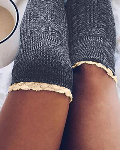 Lace Trim Colorblock Over The Knee Socks