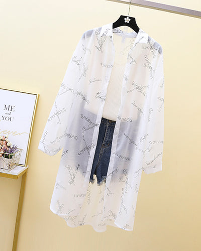Letter Print Long Sleeve Loose Button-up Blouse Cover Ups