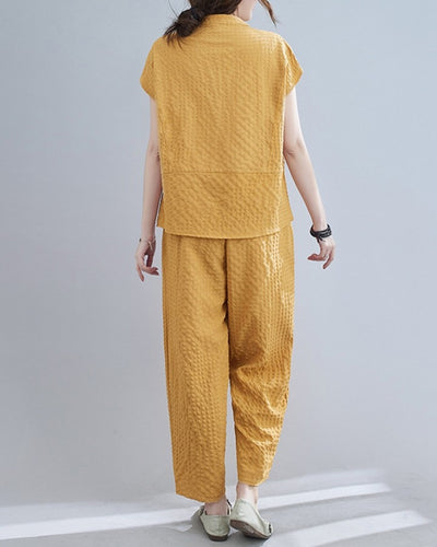 Solid Color Embossing Short Sleeve T-shirt And Baggy Pants Suit Sets