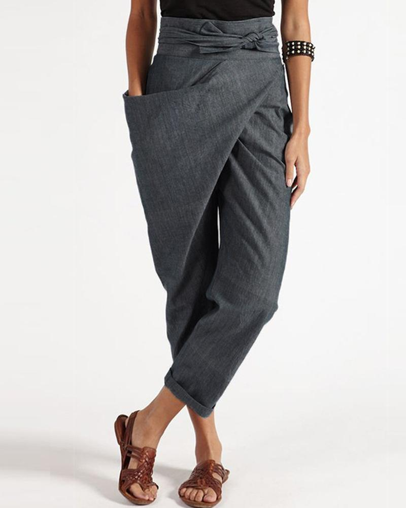Solid Loose Asymmetrical Drawstring Pants