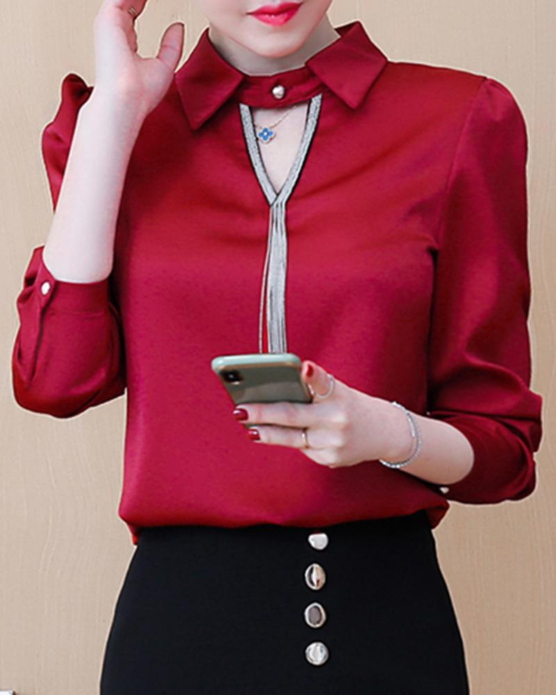 Solid V Neck Collar Blouse