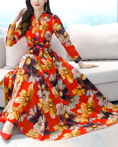 Floral Chiffon Long Sleeve Skinny Waist Dress
