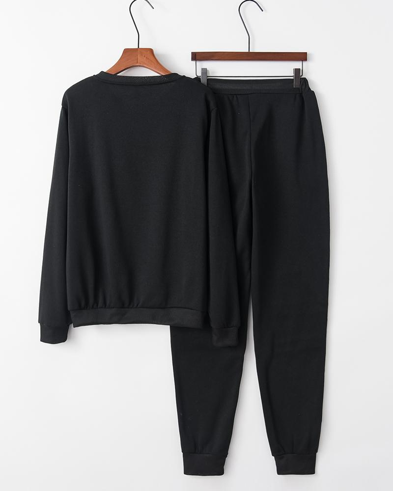Cut Out Velvet Sweatshirt Pants Sports Set