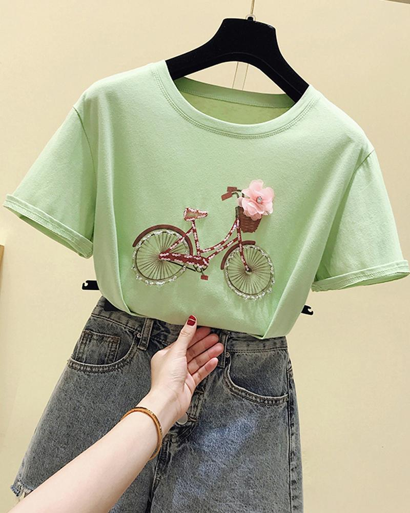 Bicycle Embelllished T-Shirt