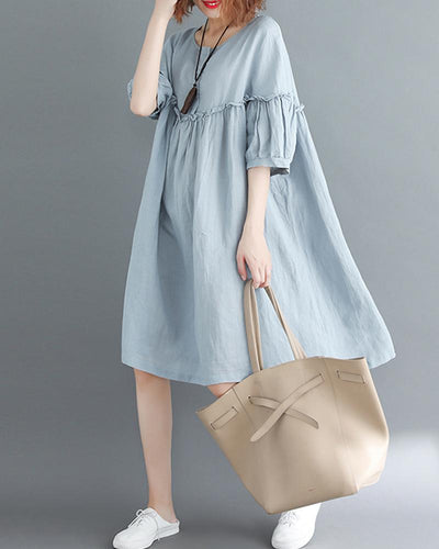 Round Neck Ruffle Shift Dress