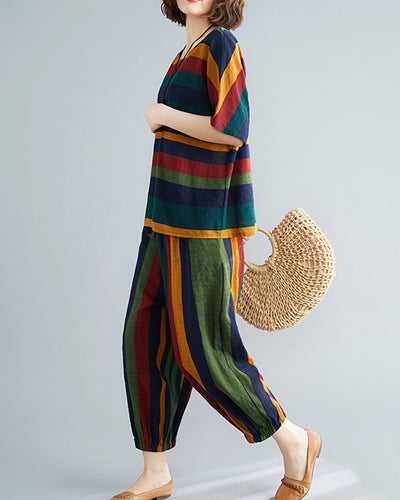 Multicolor Striped Loose Latern Pants With Short Sleeve T-shirts Suit Sets