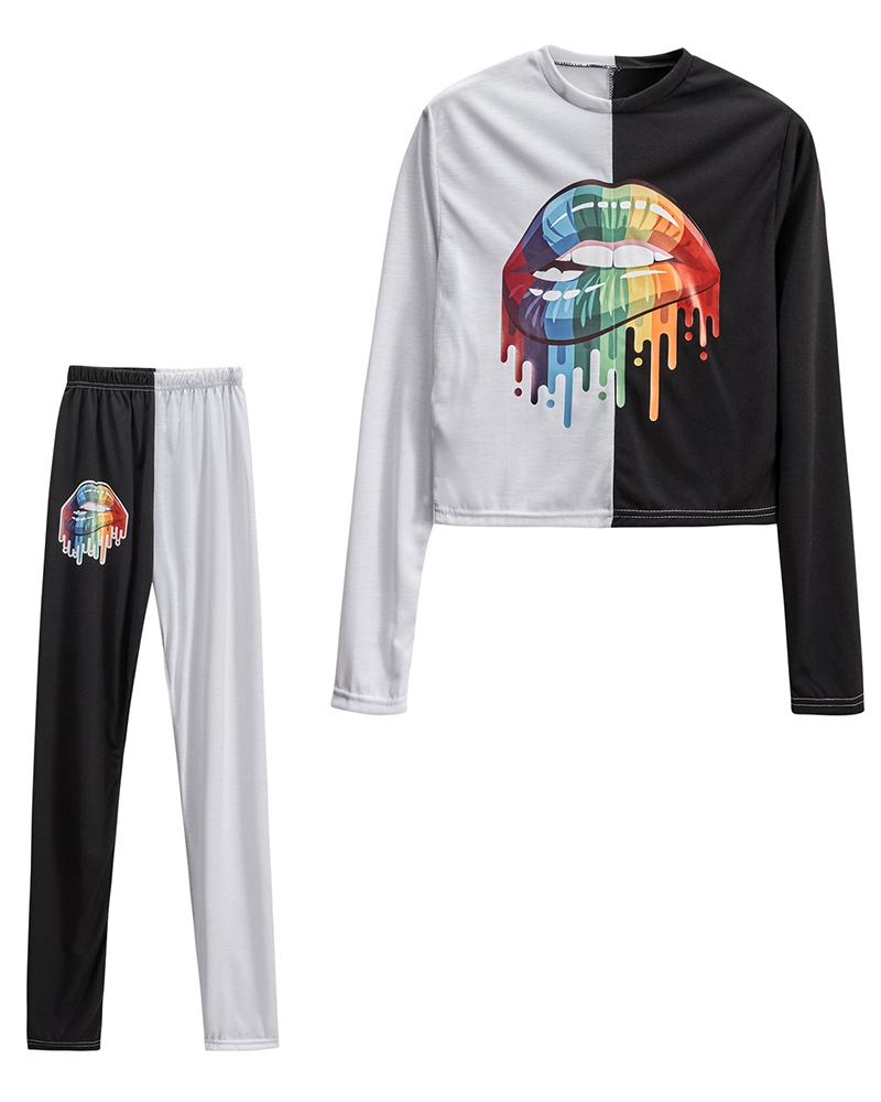 Colorblock Multicolor Lip Printing Long Sleeve T-shirt With Pants Suit Sets