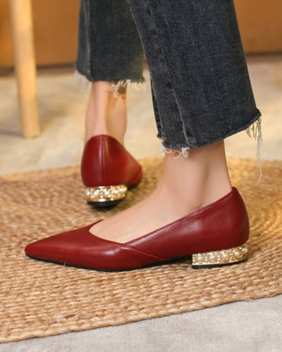 Pointed-toe Solid Color PU Leather Slip-on