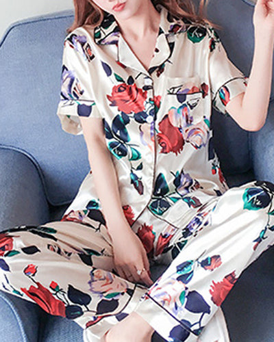 Floral Print Short Sleeve Button-up Blouse With Pants Pajamas Sets
