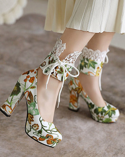 Floral Print Strappy High Heel Paltform Sandals