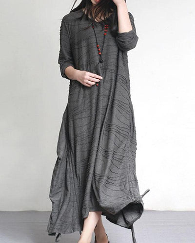 Ruched Asymmetric Maxi Dress