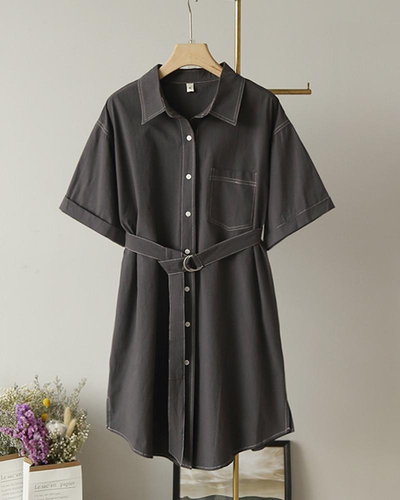 Solid Single Breasted Short Sleeve Dress with Belt