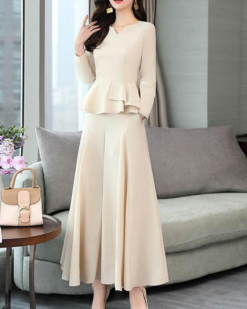 Solid Long Sleeve Ruffles Skort Loose Suit Sets
