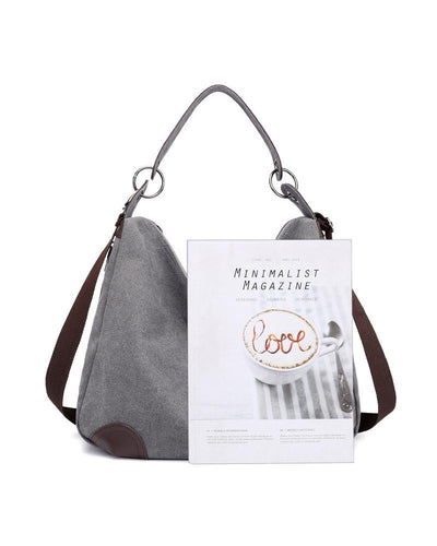 Retro Solid Canvas Tote Shoulder Bag