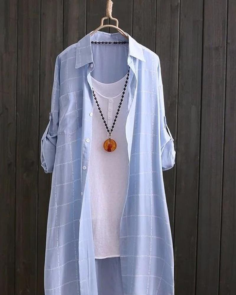 Grid Loose Fit Tunic Shirt