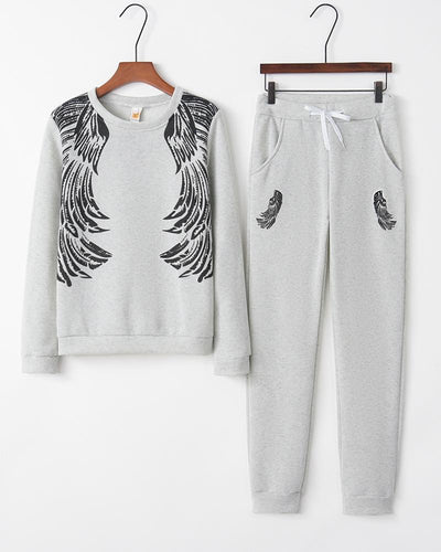 Wings Print Long Sleeve Sweatshirts Loose Suit Sets