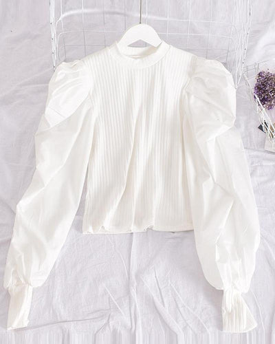 Solid Puff Sleeve Blouse