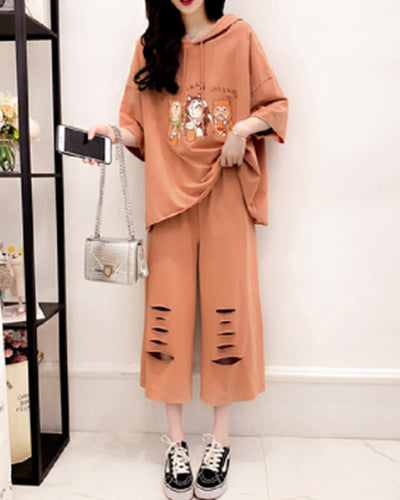 Cartoon Print Half Sleeve Hooded Sweatshirt And Baggy Ripped Pants Suit Sets