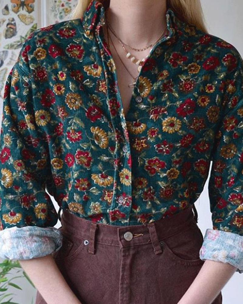 Floral Printing Commuting Long Sleeve Shirt