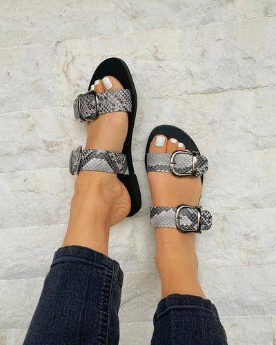 Snakeskin Buckle Double Band Upper Open-toe Flat Sandals